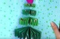 Pop up kerstkaarten knutselen - Kerstboom vouwen