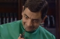 Mr Bean als kapper