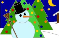 Kleurplaat Sneeuwman