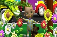 Zoek de verschillen Baby in bloementuin Spelletjes